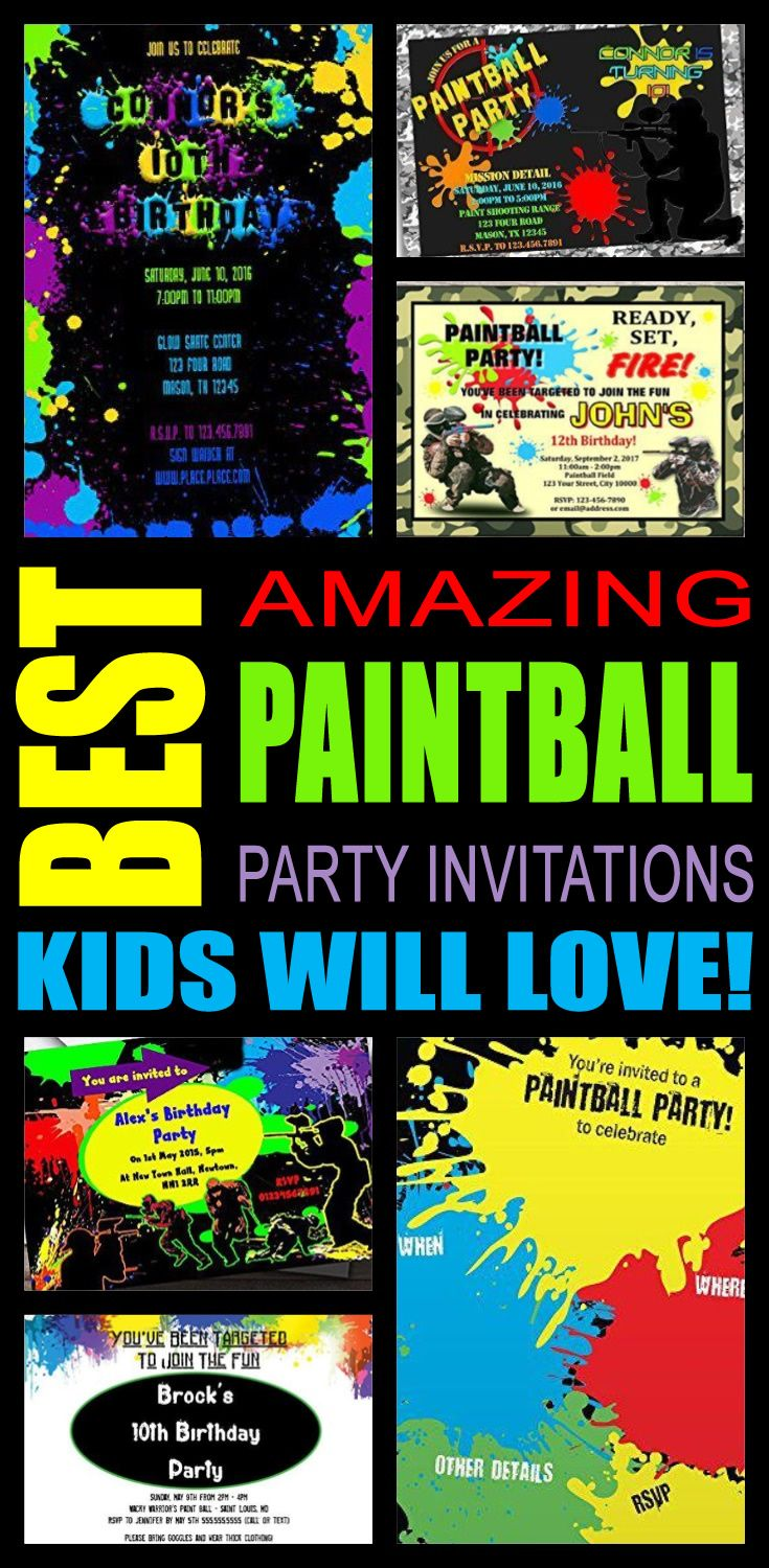 Best Paintball Party Invitations Kids Will Love | Paintball, Party ...