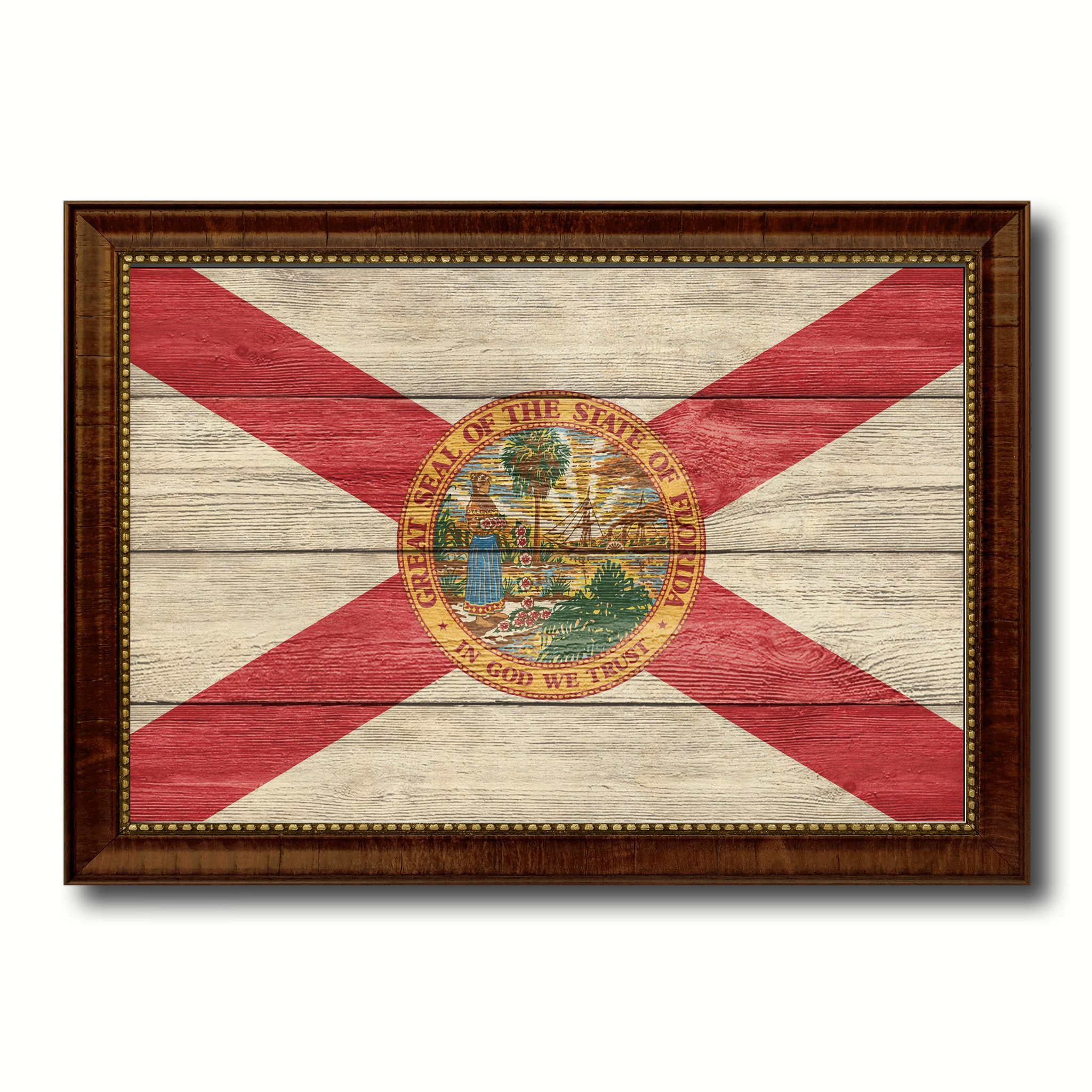 Florida State Flag Texture Canvas Print With Brown Picture Frame