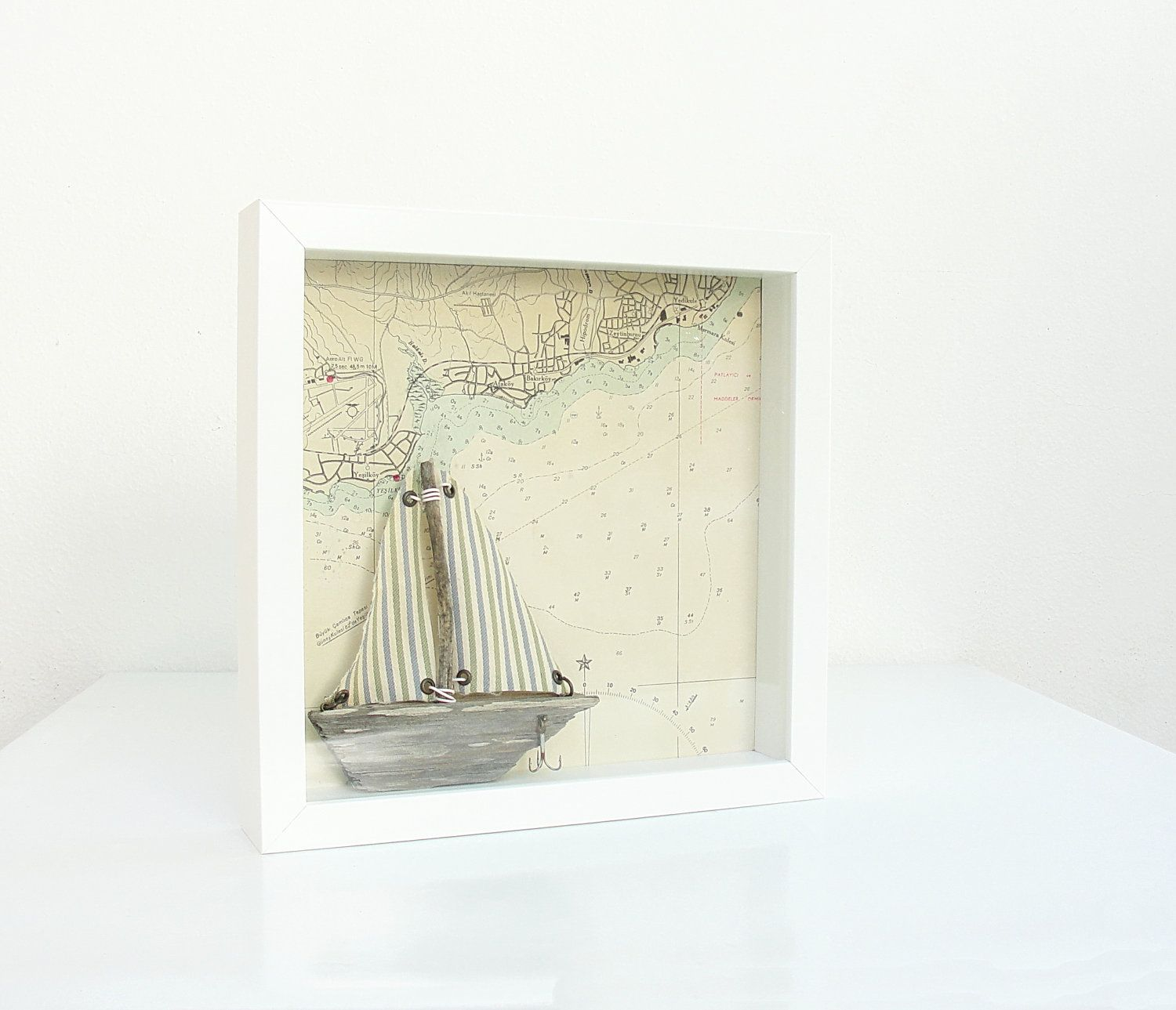 RESERVED for Paula Vintage Sea Map and Driftwood Boat Shawdow Box ...