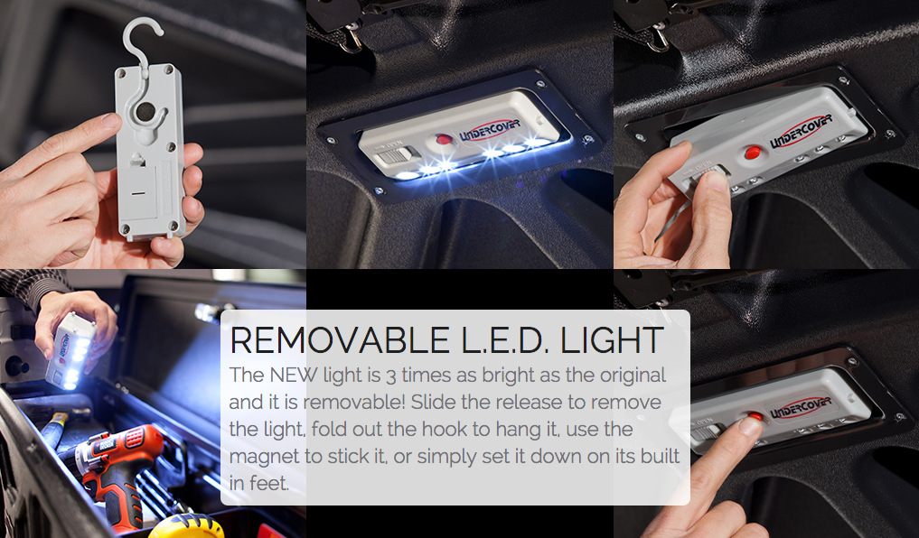 Elite comes standard with our new removable L.E.D. light