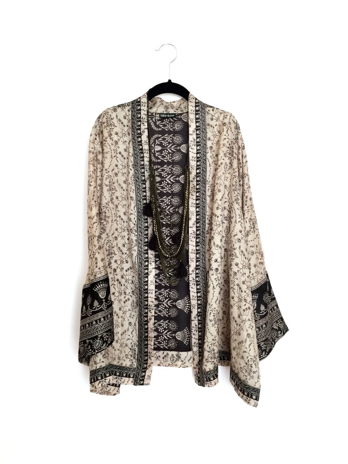 87dd00c02da Silk Kimono jacket black and beige paisley indian by Bibiluxe ...