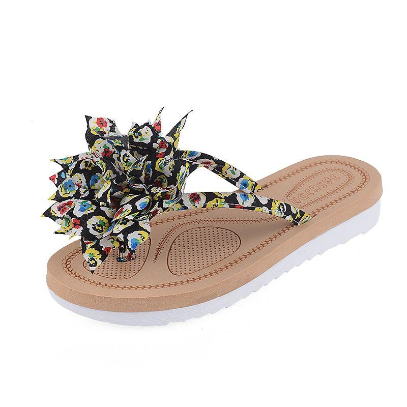 f9e363043d61d3 Summer Ladies Flower Flat Sandals Garden Shoe Zapatos Mujer Sapatos  Femininos Woman Jelly Color Flip Flops
