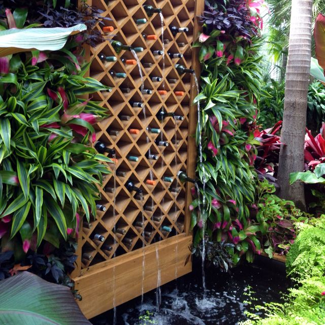 Wine rack water fountain -- Phipps Conservatory