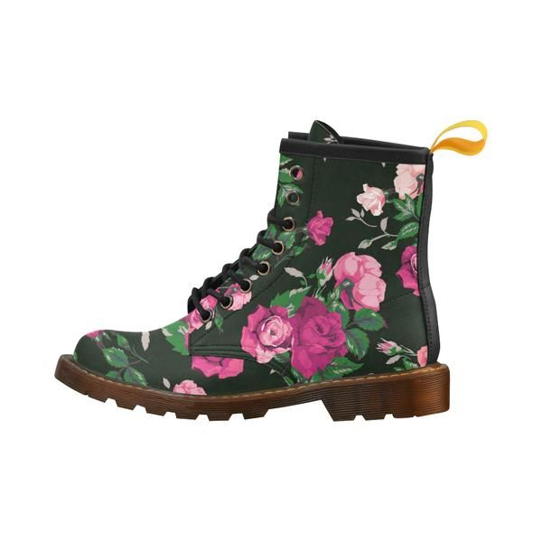 Pink Roses on Black Boots Women
