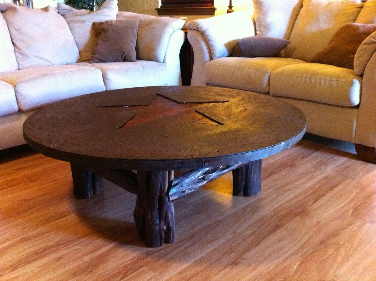 Metal And Cedar Texas Star Coffee Table
