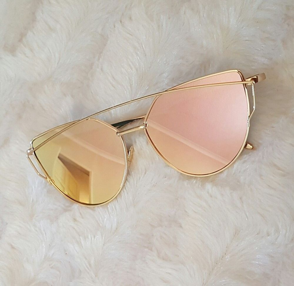 767a622a69d LUXE Rose Gold Mirrored Reflective Aviator Sunglasses Celeb DESIGNER Kylie  MARBS