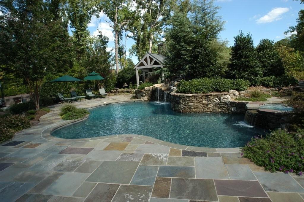 Natural Stone Pool Deck Impressive Pools And Decks Spa In Swainsboro Ga .pool Deckprovided.