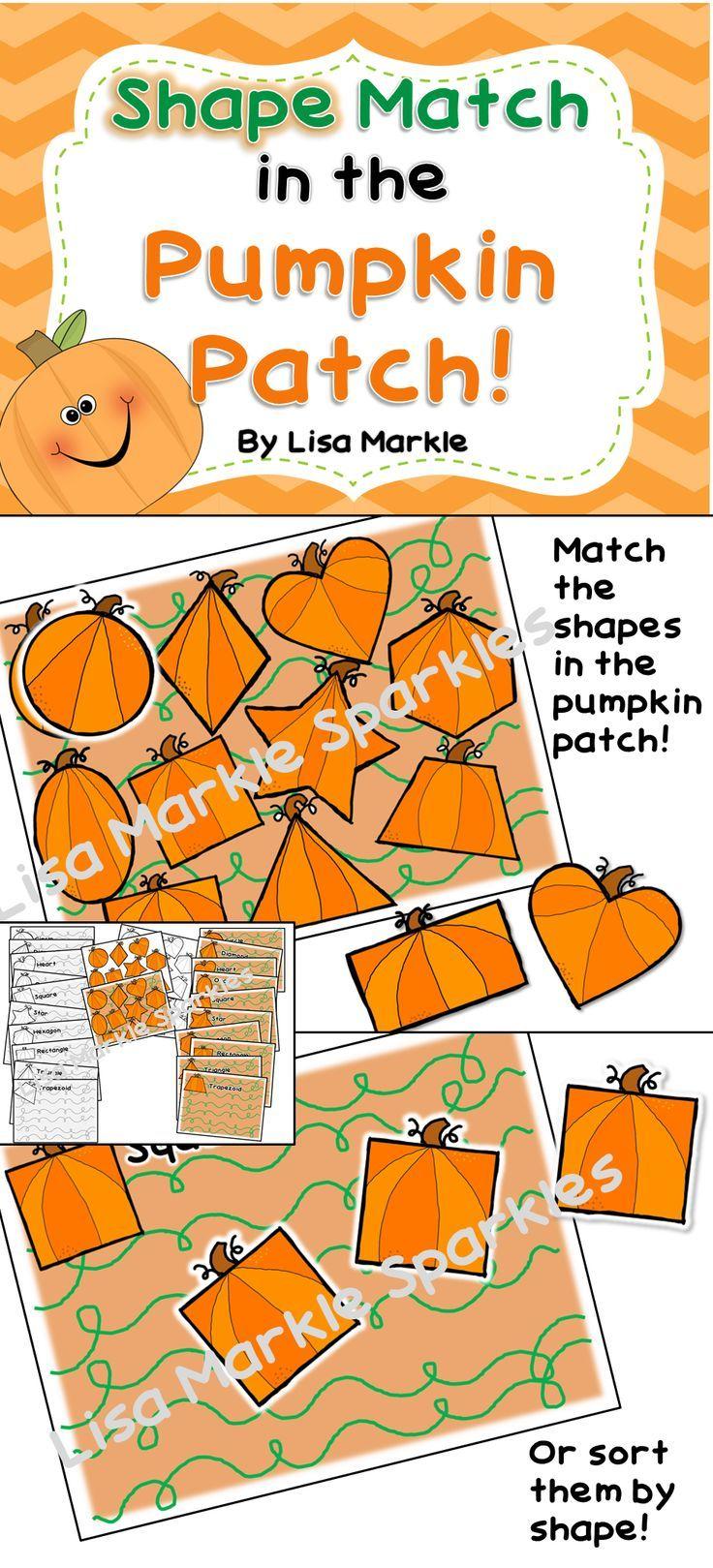 Shape Match in the Pumpkin Patch for Preschool Fall