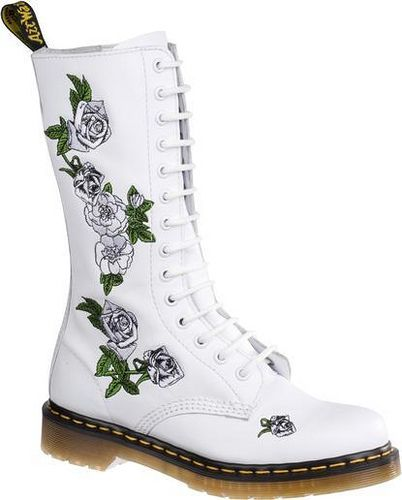 White Floral Dr Martens   Boots, Dr