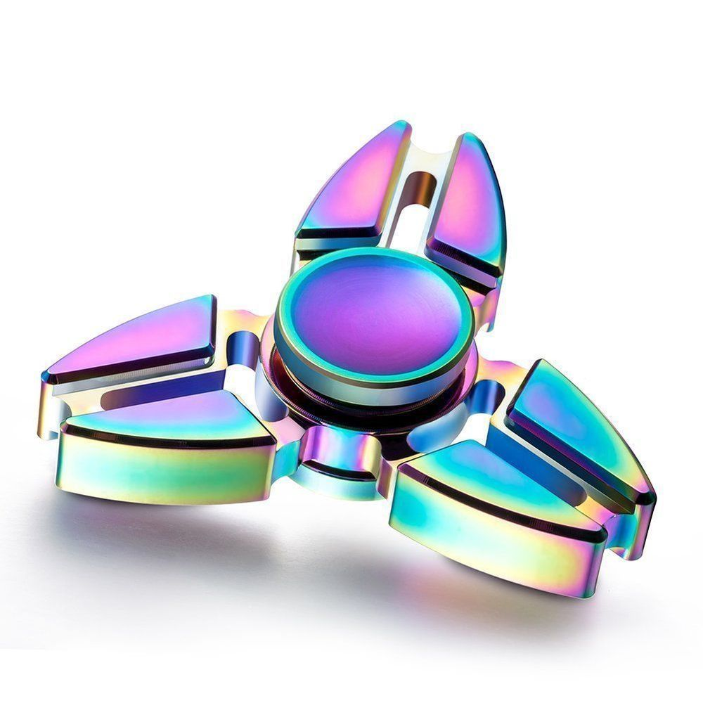 *FIDGET SPINNER TRI RAINBOW ZINC ANXIETY STRESS RELIEF FOCUS ATTENTION THERAPY*