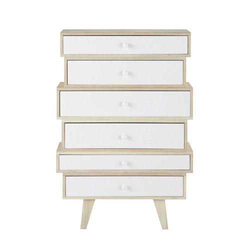 maisons du monde spring semainier vintage en bois de paulownia blanc l 65 cm p25 h97 ah. Black Bedroom Furniture Sets. Home Design Ideas