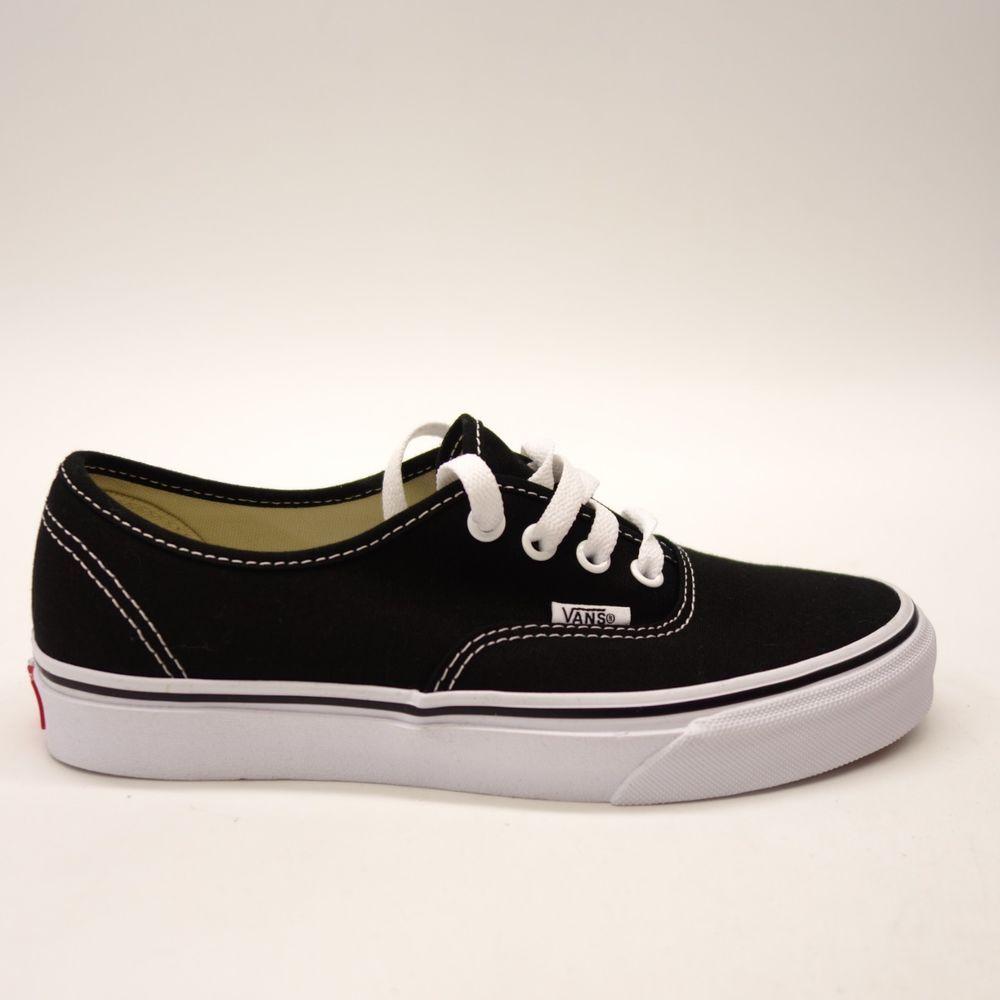 New Vans Womens Black Classic Canvas Lace Low Top Sneaker