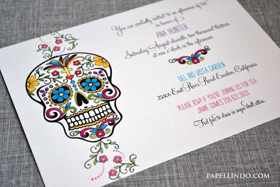 Dia De Los Muertos Day Of The Dead Invitation Sample Etsy Day Of The Dead Party Sugar Skull Party Day Of The Dead