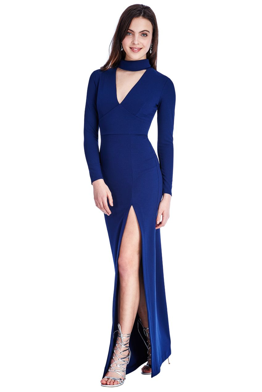 This stylish v neck cutout long sleeved maxi dress is now available
