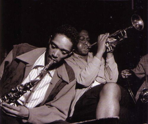 Wardell Gray and Fats Navarro (with Allen Eager in background) from the Tadd Dameron Septet session, Apex Studios NYC, September 13, 1948 (p...