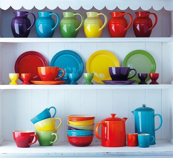 Rainbow Kitchen Decor: Colourful Le Creuset Stoneware.