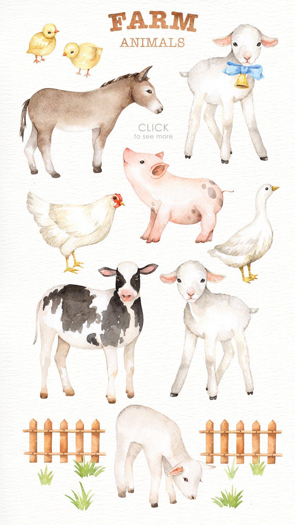 Farm Animals Watercolor Clipart Nursery Prints Farm Animals Etsy Farm Animal Nursery Animal Nursery Art Animal Clipart