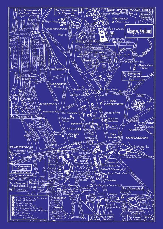 1949 Vintage Map of Downtown Glasgow Scotland 20x30 Blueprint Print - copy famous blueprint art