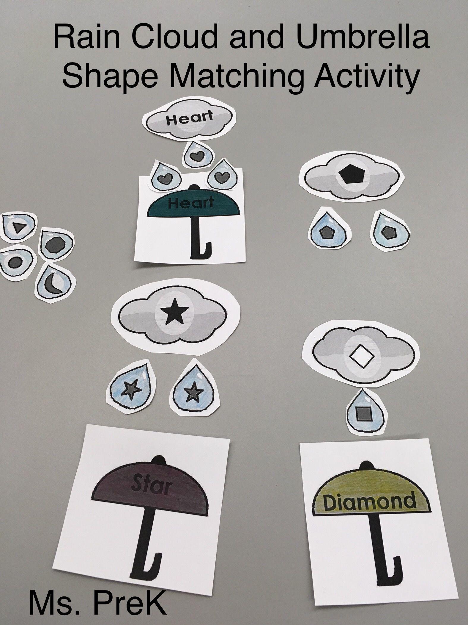 Rain Cloud Amp Umbrella Shape Matching For Preschool