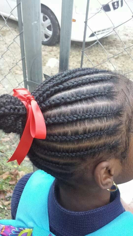 Kid S Cornrows No Hair Added With Images Kids Braided