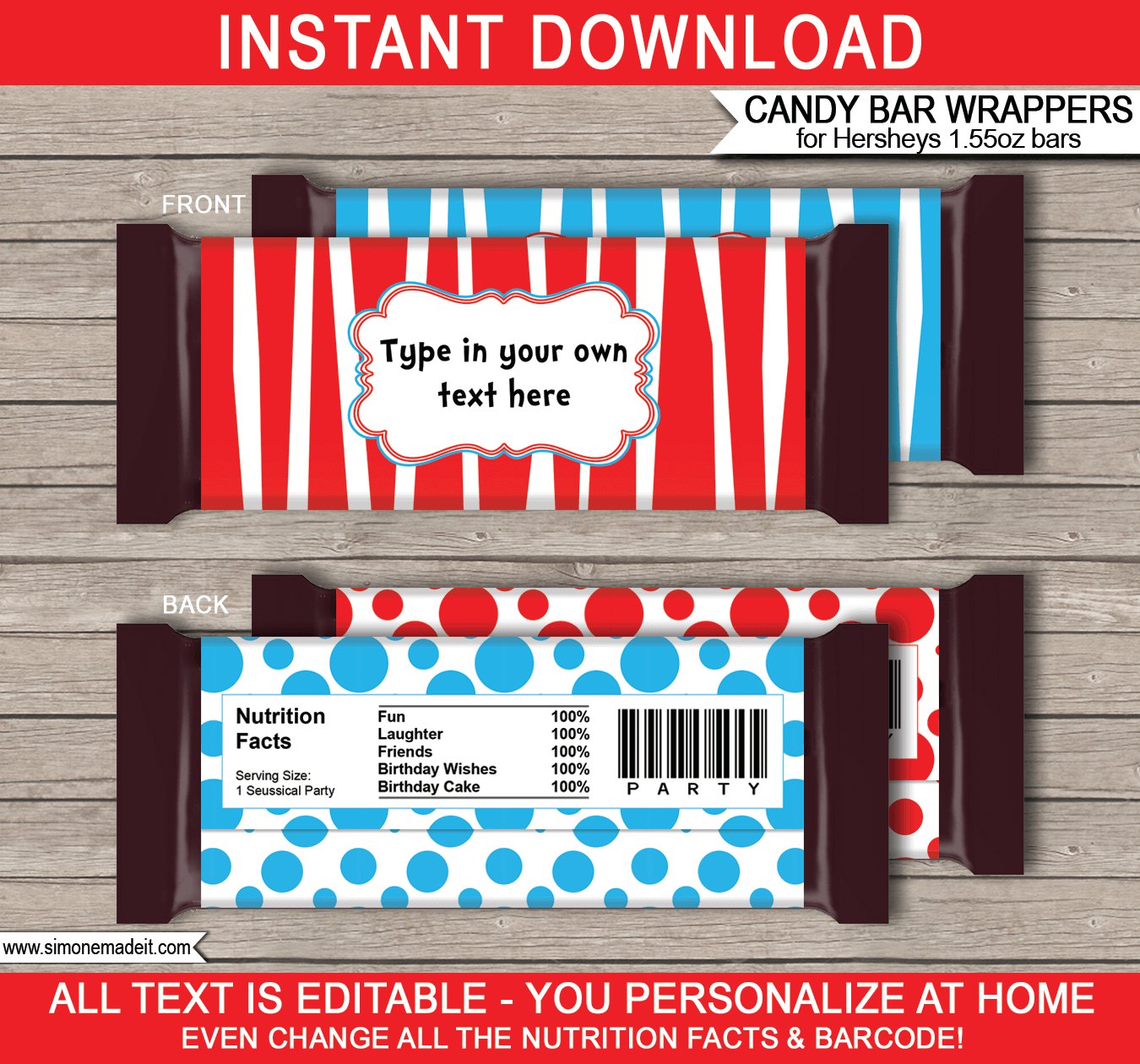 Dr Seuss Hershey Candy Bar Wrappers Template
