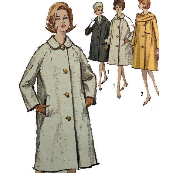 Vintage 50s Womens Coat Pattern Trapeze Coat By