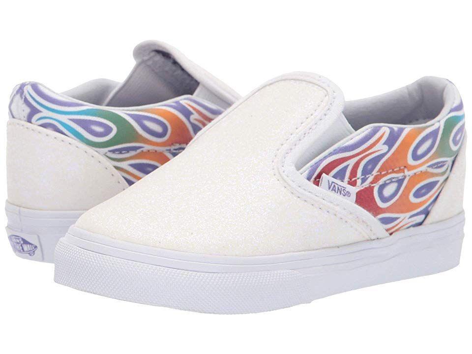 fca9c74b14 Vans Kids Classic Slip-On (Infant Toddler) Girls Shoes (Sparkle Flame)  Rainbow True White