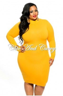 230a2c3f247 New Plus Size BodyCon Turtleneck w  Long Sleeves and Back Zipper in Mustard  1x ONLY