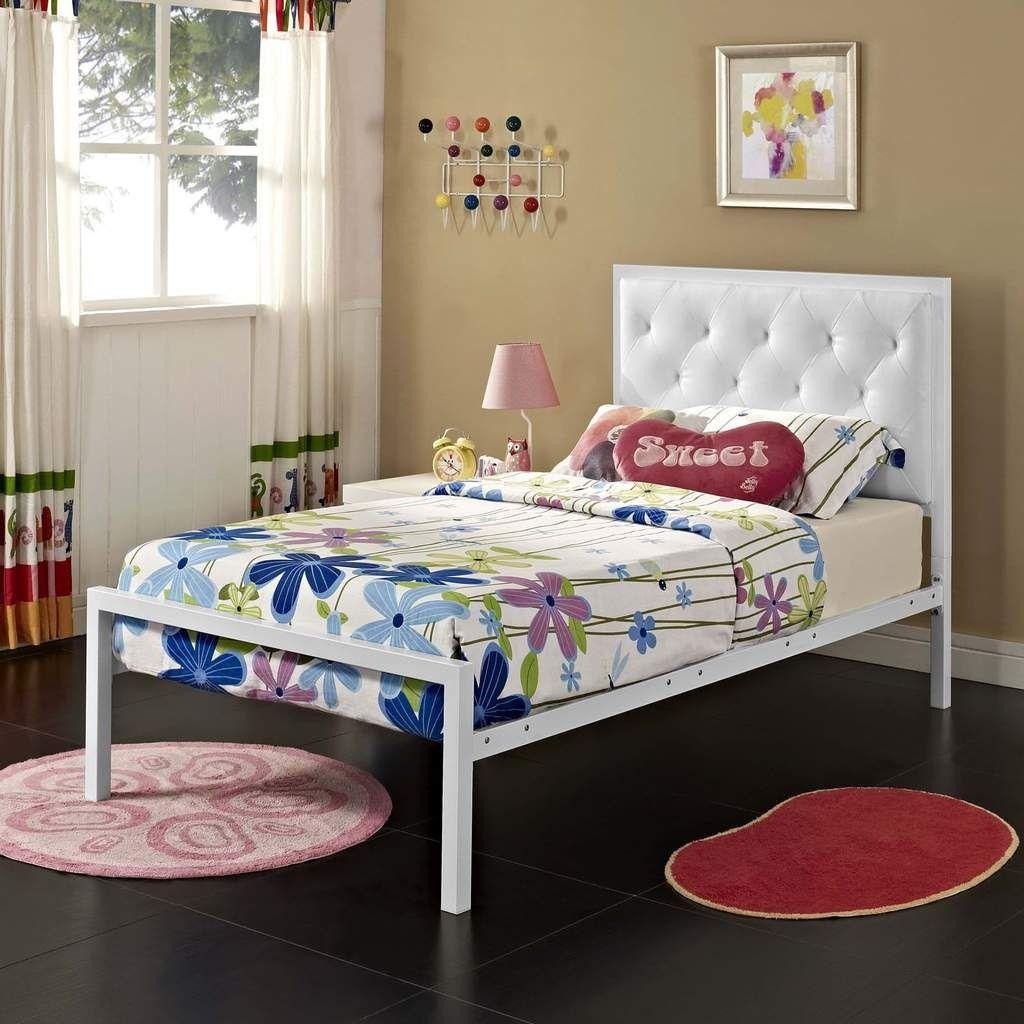 modway mia twin vinyl bed white white twin platform bed frame