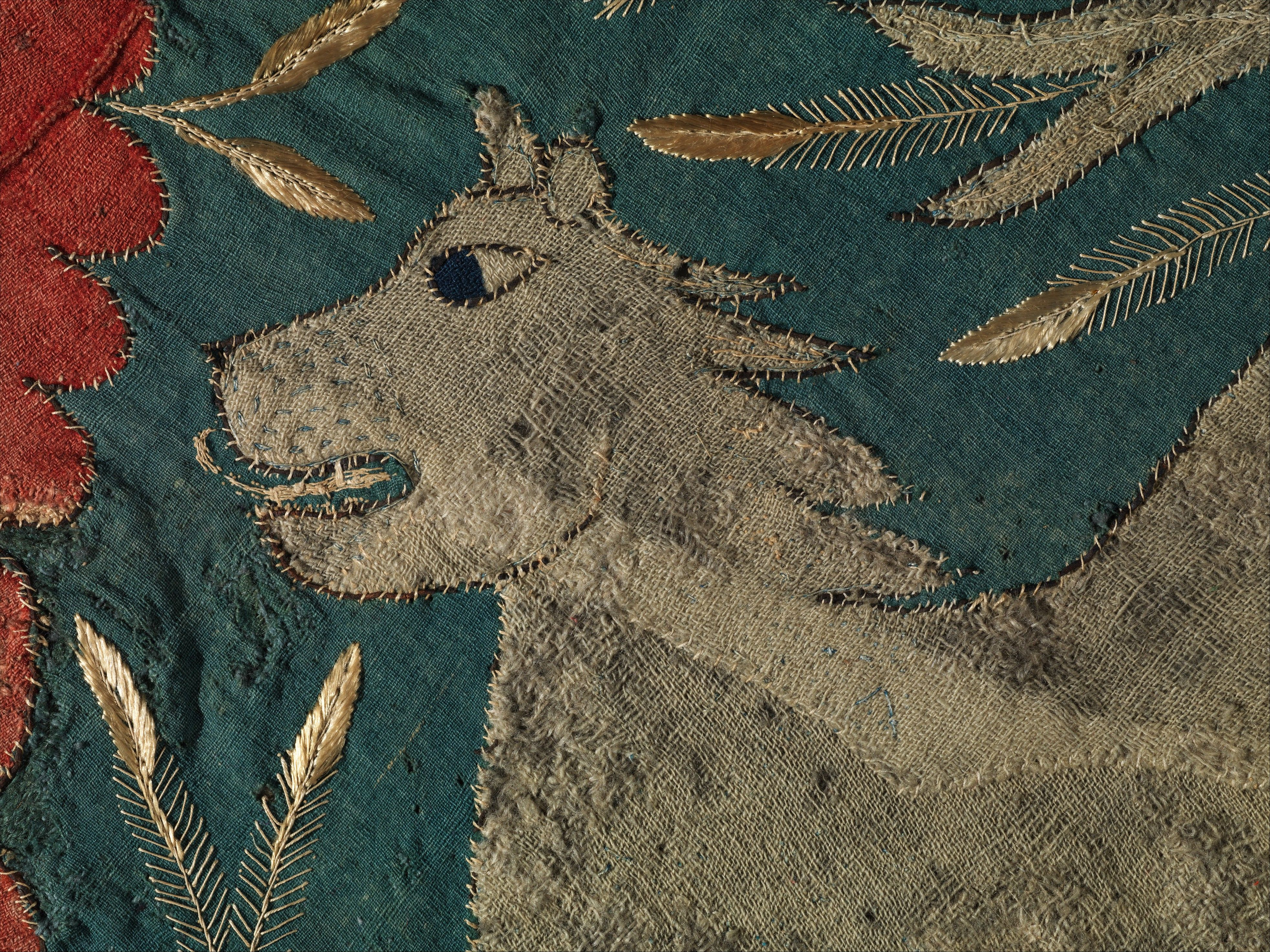 Textile Fragment with Unicorn, Deer, Centaur and Lion Date: ca. 1500 Geography: Made in Scandinavia (possibly Sweden)
