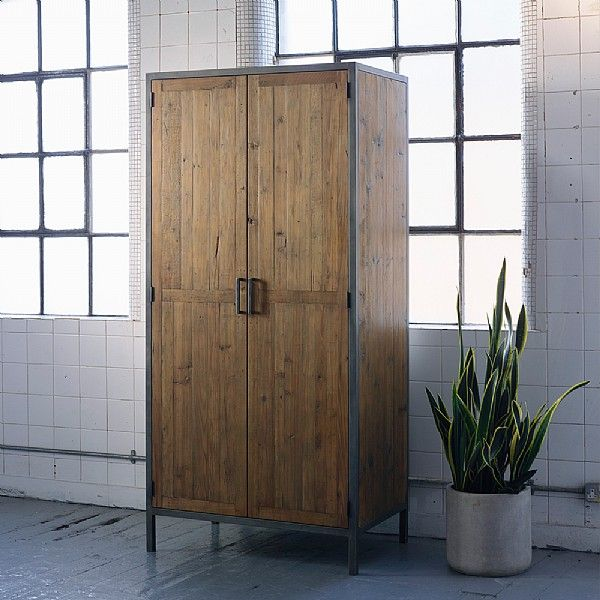 Baxter Square Industrial Wardrobe. Our versatile Baxter wardrobe, made from reclaimed pine and antiqued metal, combines an industrial feel with a simple design, offering a focal point for your bedroom.