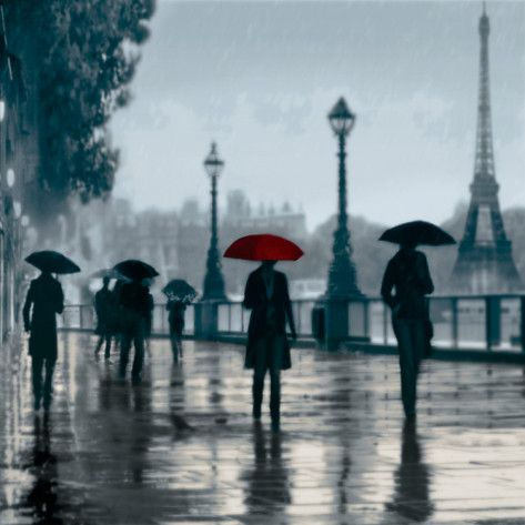 Paris Red Umbrella Giclee Print by Robert Canady at AllPosters.com