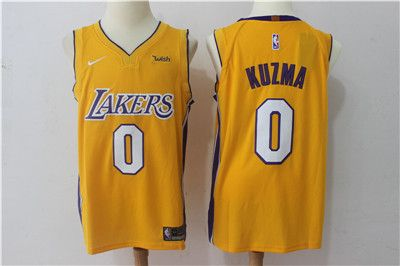 the latest 4c089 657fb Nike Lakers #0 Kyle Kuzma Yellow Stitched NBA Jersey | Los ...