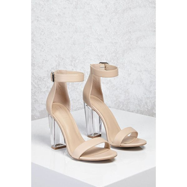ea9d6cd1d7a Forever21 Lucite Ankle-Strap Heels ($33) ❤ liked on Polyvore ...