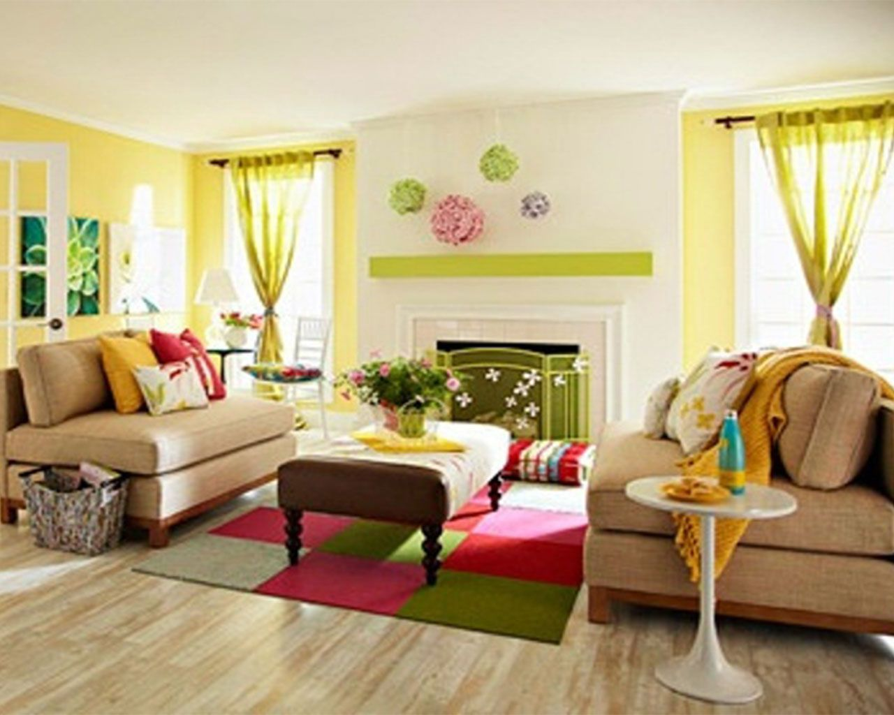 ergonomic brown sofa feat checkered carpet on colourful living room ...