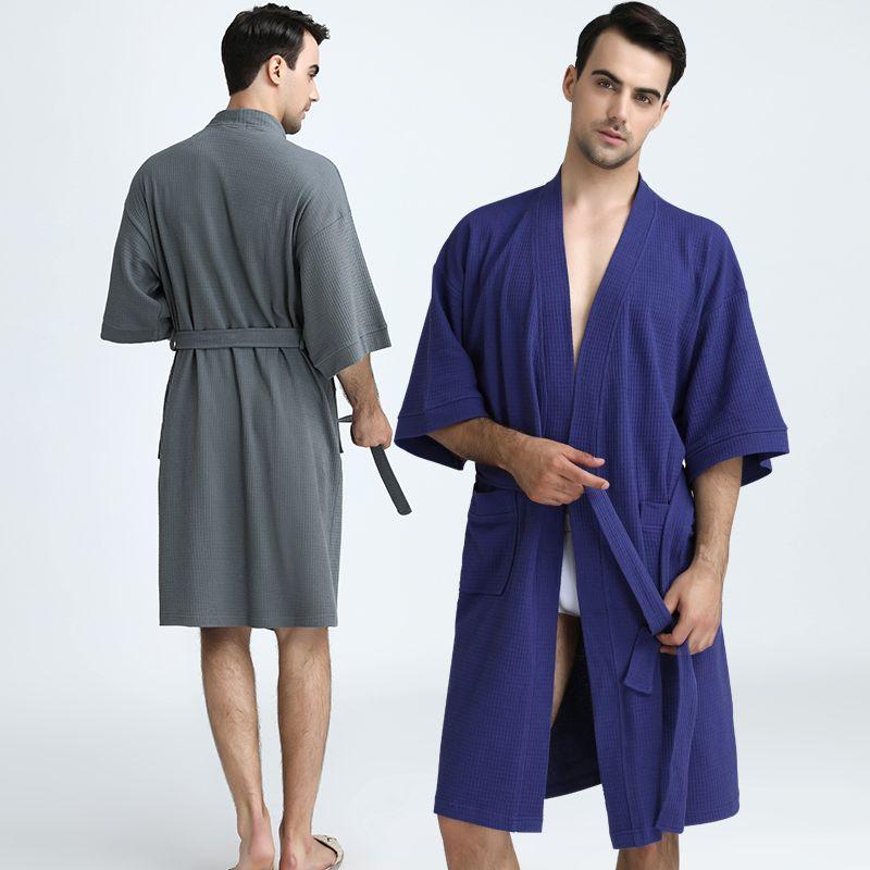 Men 100% Cotton Plus Size Water Absorption Waffle Kimono Bath Robe ...