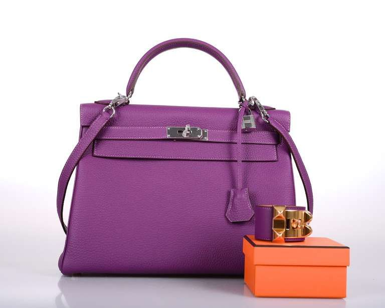 INLOVE HERMES KELLY BAG 32cm ANEMONE WITH PALL HARDWARE image 4