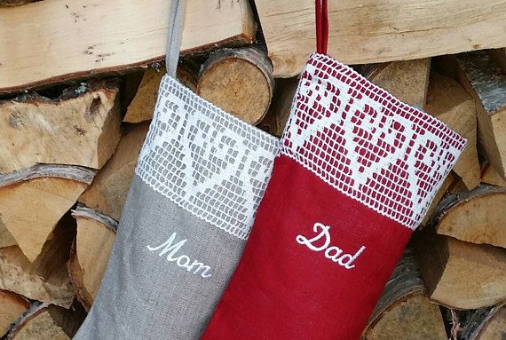 Christmas stocking  red or gray Lace by HedgehogKingdom on Etsy