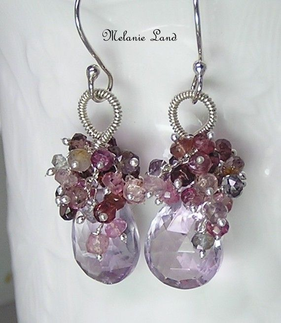 Amethyst  /& Pink Spinel crystal stone handmade wrapped macrame necklace