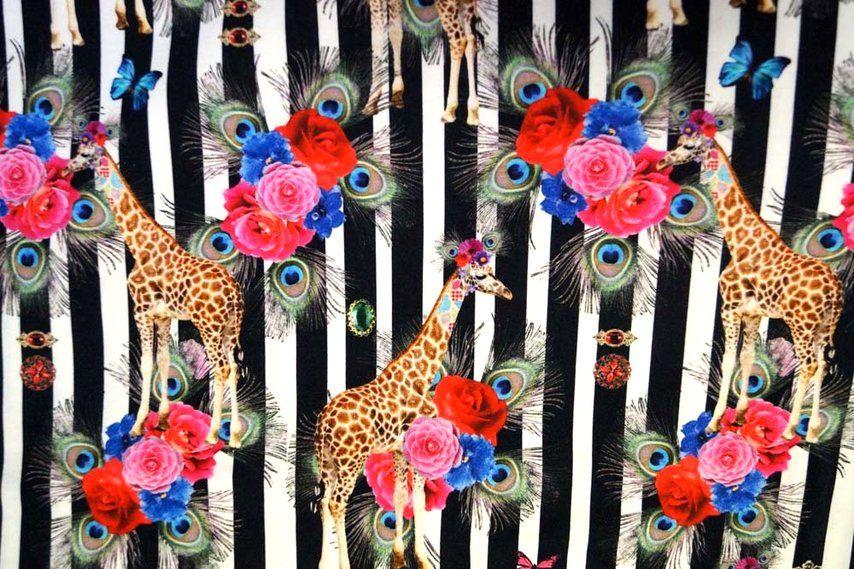 Stenzo16 1805 Tricot digitaal gestreept giraffe zwart/wit/multi