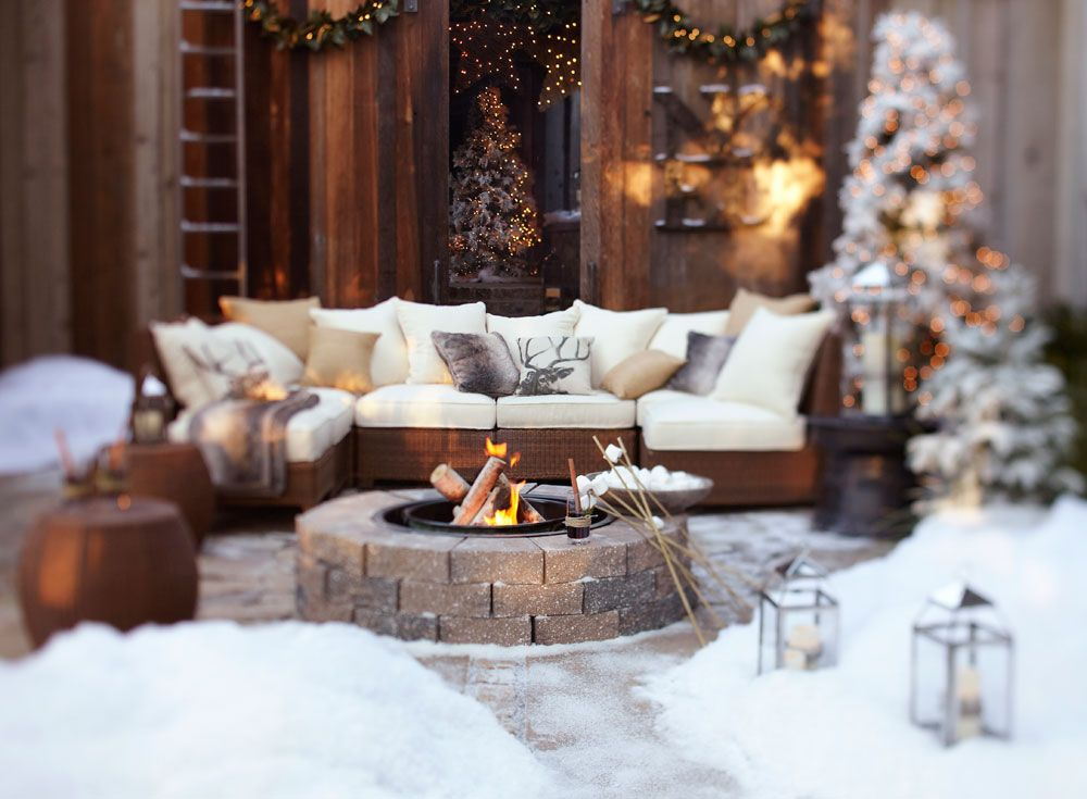 Rustic Winter Holiday Outdoor Space Christmas Trees