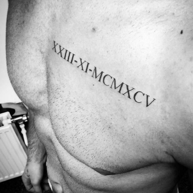 Roman Numeral Tattoo On Chest By Amilcar Chest Tattoo Men Chest Tattoo Roman Numerals Chest Tattoo