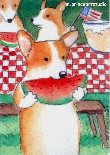 ACEO Pembroke Welsh Corgi Dog Picnic watermelon art print from original painting. $6.00, via Etsy.