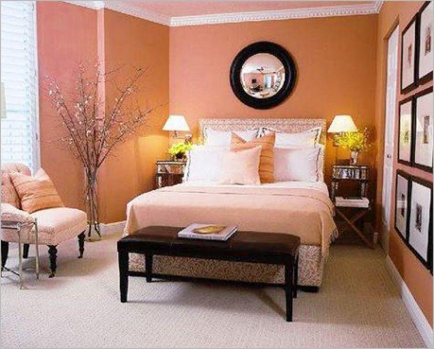 Bedroom Designs Bedroom Ideas For Women Design Brown Bed Bench Cream Carpet Floor Orange Wall Round Circle M Woman Bedroom Bedroom Interior Coral Living Rooms