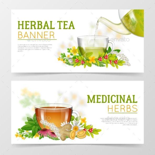 Herbal Tea And Medicinal Herbs Banners Herbalism Medicinal Herbs Herbs Illustration
