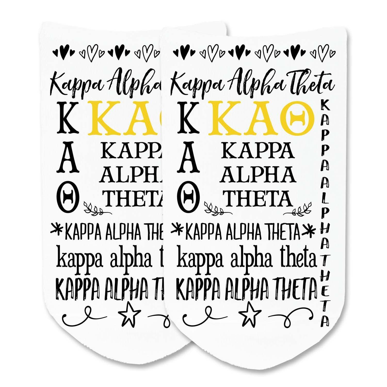 Kappa Alpha Theta - Vintage Sorority Names Full Print No-Show Socks - 1 pair