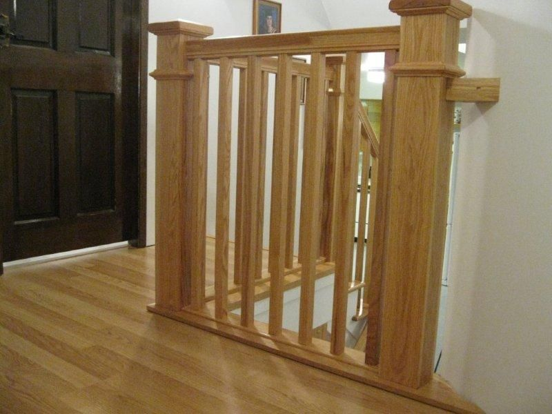 Craftsman style railing oak full false treads oak for Craftsman picture rail