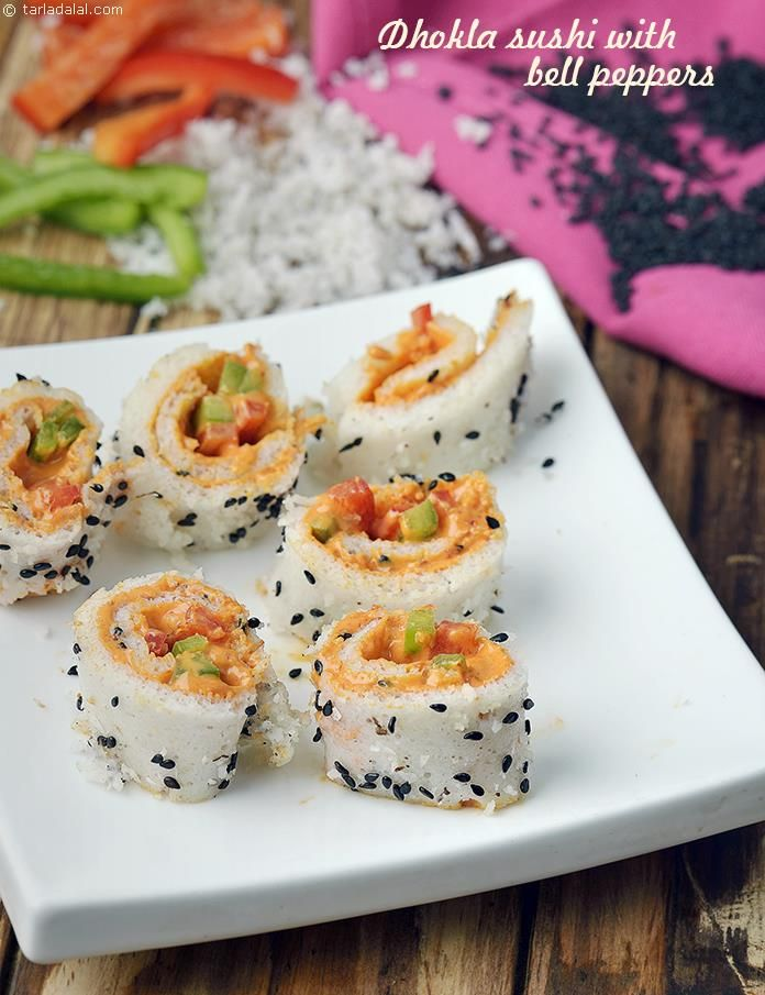Dhokla sushi with bell peppers recipe bell pepper pepper and dhokla sushi with bell peppers indian vegetarian recipesvegetarian foodspinach forumfinder Image collections