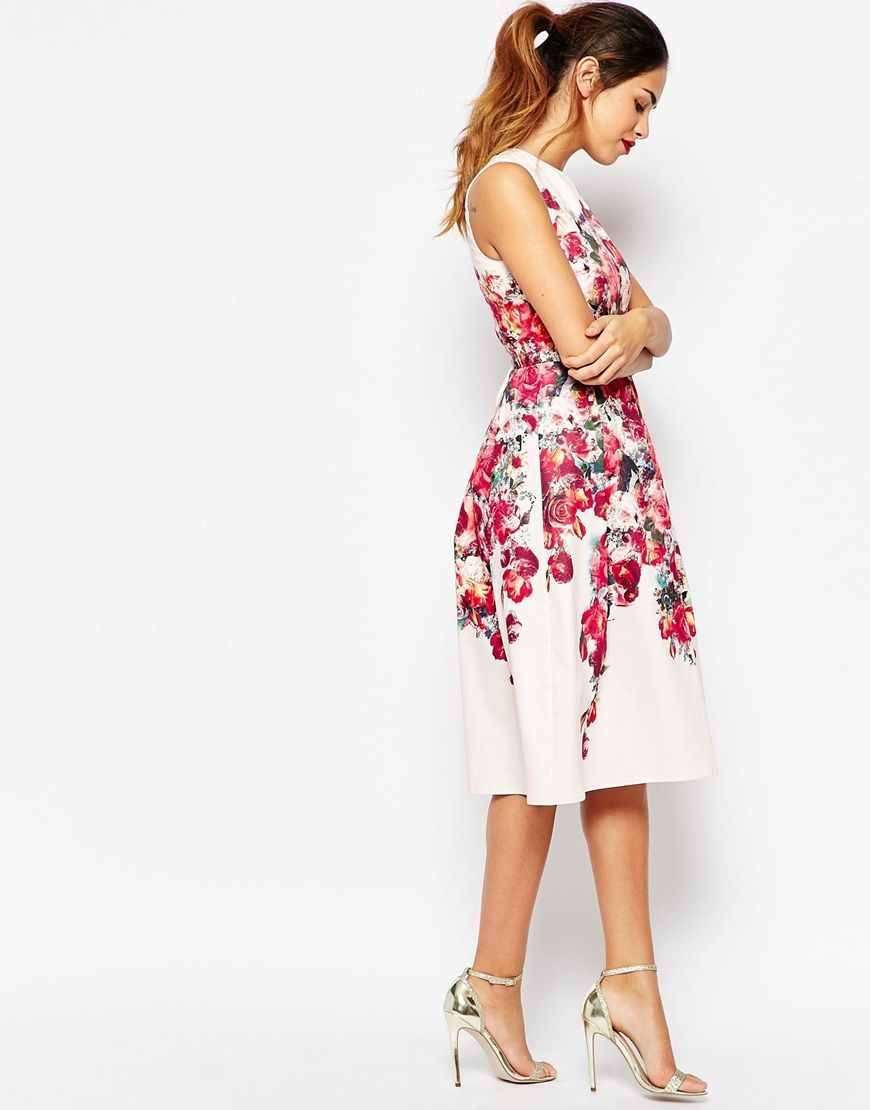 Image 4 of ASOS PETITE Vintage Floral Bardot Midi Prom Dress With ...