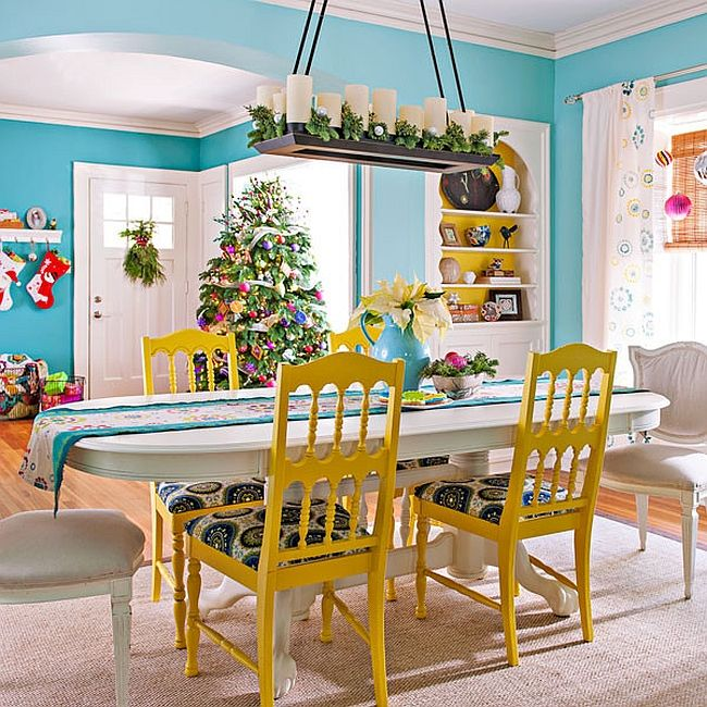 Cheerful Eclectic Dining Room With Festive Charm